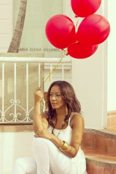 Woman Holding 4 Red Balloon #39966