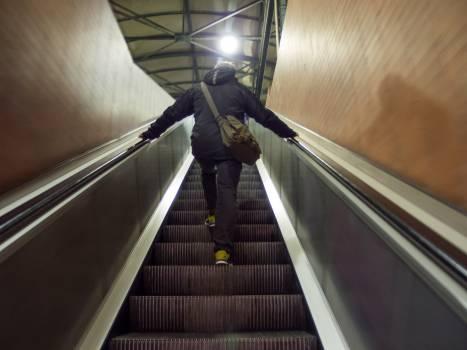 Man On Escalator In Tube - free stock photo #399704