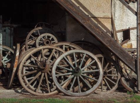 Wooden Wagon Wheels On Farm - free stock photo #399754