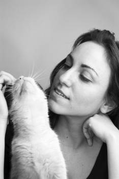 Grayscale Photo of Woman and Cat #40149