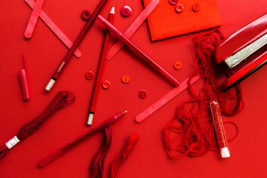 Art Supplies in Red Free Photo #401799