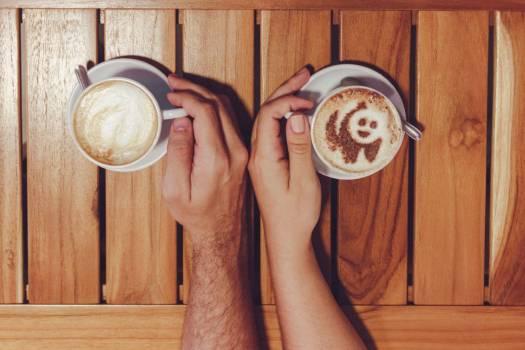 Man Woman Cappuccino Hands Free Photo Free Photo