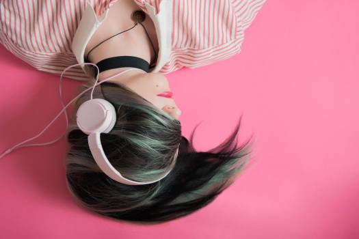 Woman Headphones Pink Background Free Photo Free Photo