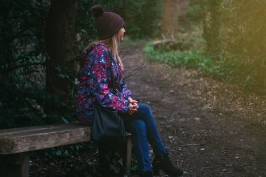 Woman Sitting Bench Free Photo #402328