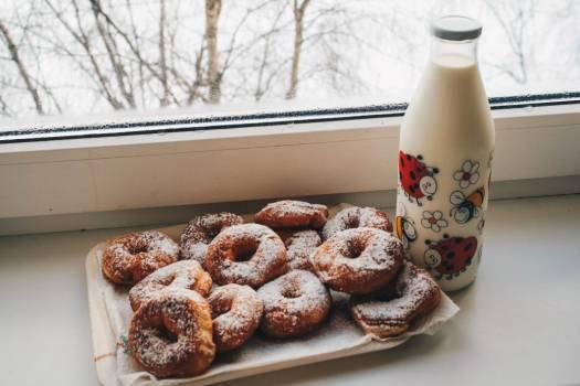 Fresh Donuts Milk Bottle Free Photo #402445