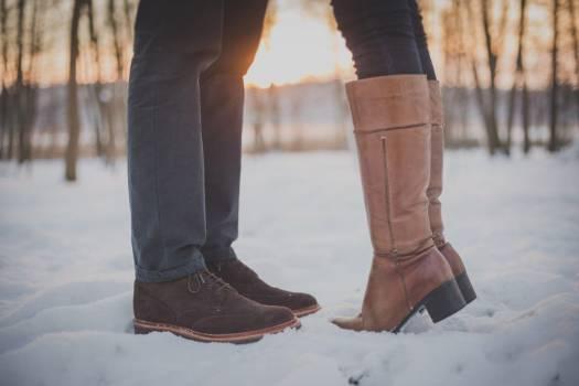 Man Woman Kiss Snow Boots Sunset Free Photo Free Photo