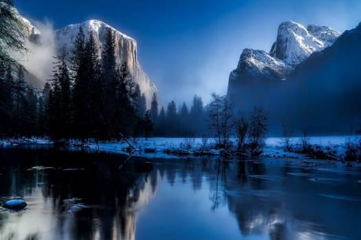 Winter River Mountains Snow Free Photo #402743