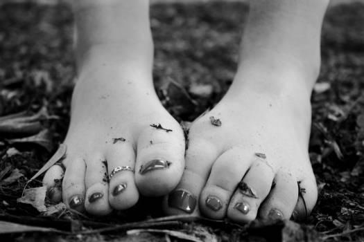 Woman Feet Black White Leaves Free Photo #402878