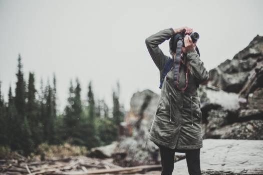 Woman Camera Forest Mountain Free Photo Free Photo