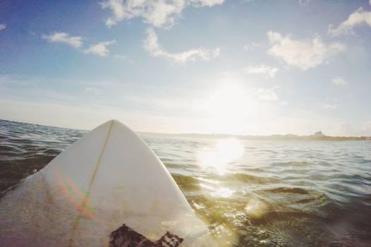 Surf Board Sea Water Blue Sky Clouds Free Photo #402917