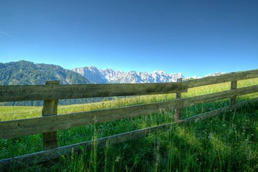 Green Fields Fence Mountain Blue Sky Free Photo #402975