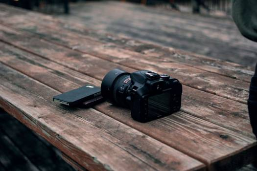 Dslr Camera Mobile Wood Table Free Photo #403021