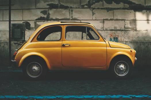 Classic Fiat 5 Yellow Car Free Photo Free Photo
