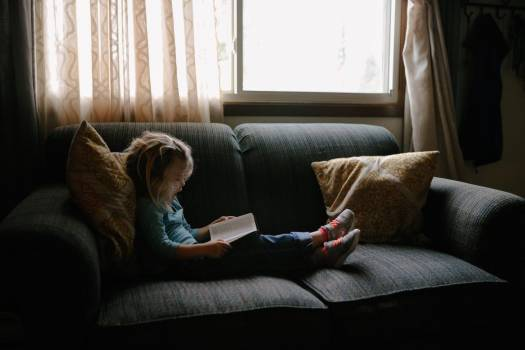 Small Child Girl Reading Book Free Photo #403096