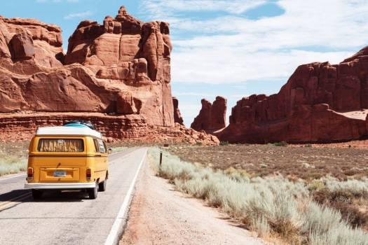 Classic Yellow Volkswagen Van Desert Free Photo #403198