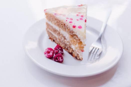 Raspberry Cake White Plate Fork Free Photo Free Photo