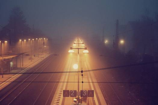 Train Station Night Fog Free Photo #403429