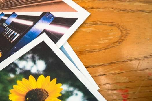 Stack Photos Polaroid Wood Desk Free Photo #403455