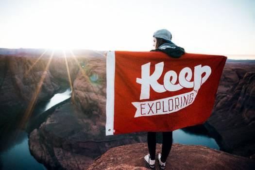 Keep Exploring Flag Red Free Photo #403599