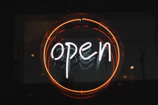 Open Round Neon Sign Free Photo #403601