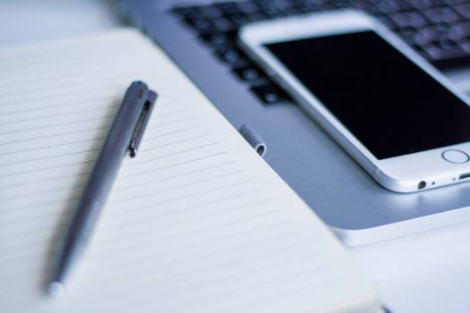 White iPhone Open Notebook Pen Free Photo #403705