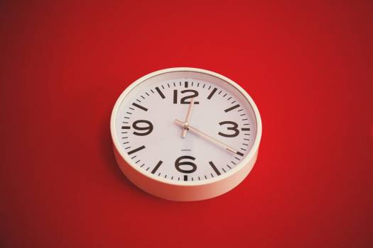White Wall Clock Red Background Free Photo #403801