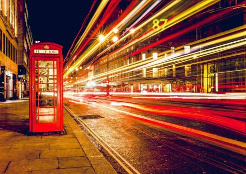 London Red Telephone Booth Long Exposure Free Photo #403943