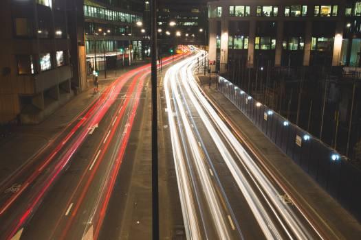 Cars traffic lights night Free Photo