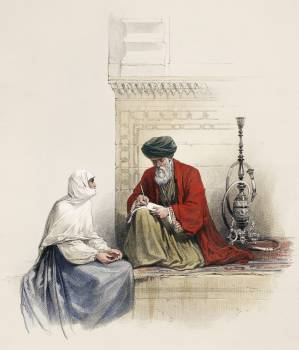The letter writer in Cairo illustration by David Roberts (1796–1864). Original from The New York Public Library.  #406262