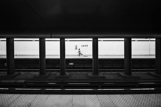 Jane train station public transportation black and white #40878