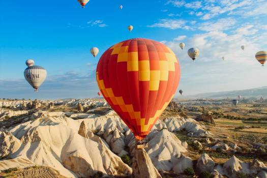 Hot Air Balloons Mountains Free Photo #409053