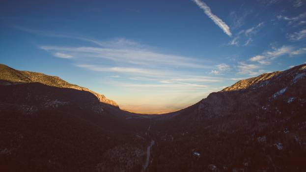 Beautiful Mountains At Sunset With Blue Sky #409280