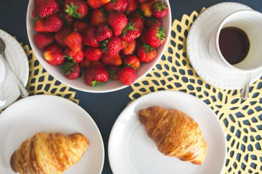 Croissants Coffee and Strawberries Free Photo #409407