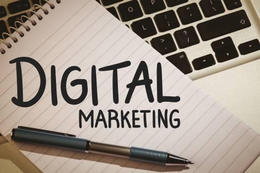 Digital marketing text against notepad  #409582