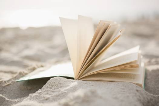 Close-up of open book on sand #409612