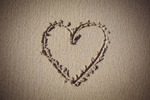 Heart drawn on sand #409644