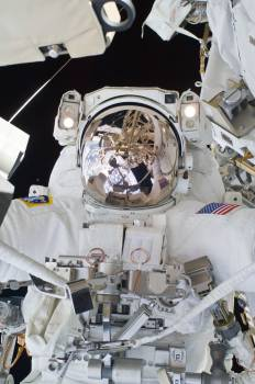 Arnold on P3 Truss for P3 Nadir UCCAS Deployment during STS-119 Extravehicular Activity (EVA) 3 #409756