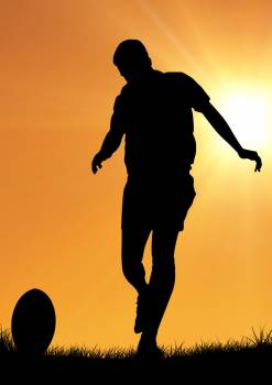 Silhouette of athlete playing rugby #409864