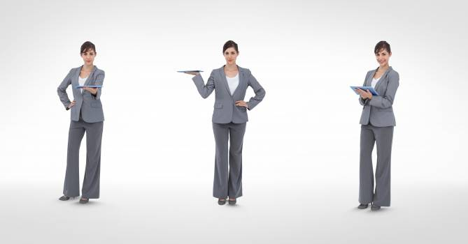 Multiple image of businesswoman holding digital tablet in various poses Free Photo