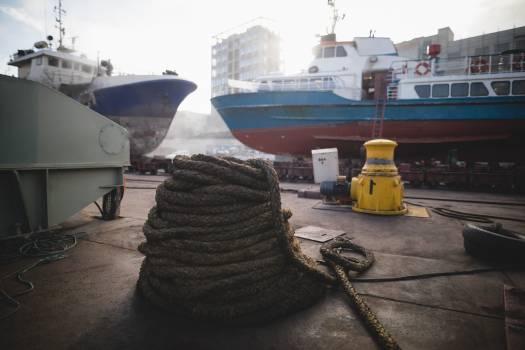 Mooring rope, bollard and ship at port #410179