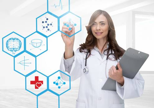 Female doctor holding clipboard touching a digital screen Free Photo