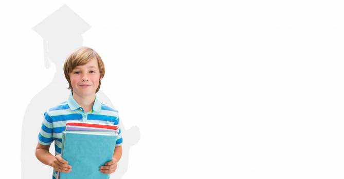 Digitally generated image of smiling boy holding books with shadow of graduate student in background #410548