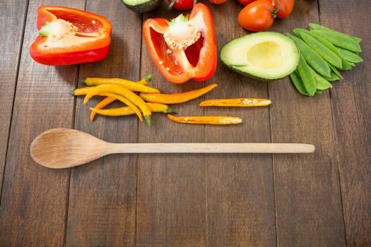 Various vegetable ingredients and spoon #410568