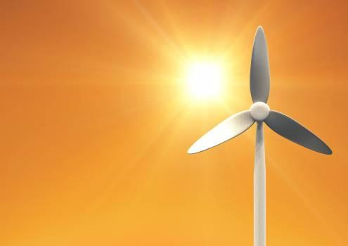 Wind turbine against sun #410666