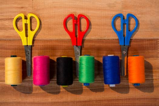 Various thread spools and scissors #410832