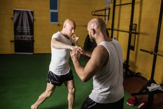Two boxer practicing boxing in fitness studio #411031