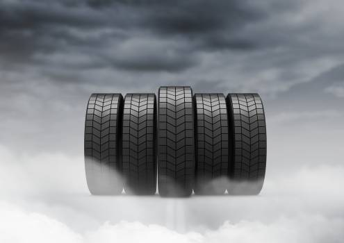 Tyres against cloudy sky #411112