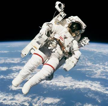 Views of the extravehicular activity during STS 41-B Free Photo