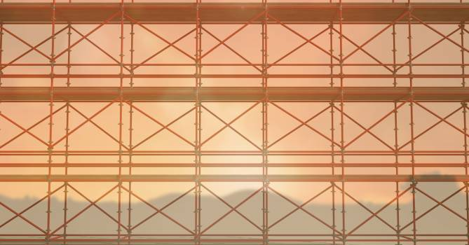 3D red scaffolding whit the sunset #411184