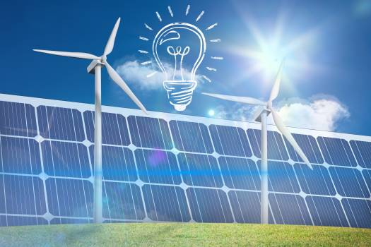 lightbulb graphic with solar panel and wind turbine #411193
